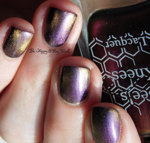Bee's Knees Lacquer You're Free blue purple gold shift over Hot Topic Blackheart Beauty Dark Purple Galaxy | Be Happy And Buy Polish