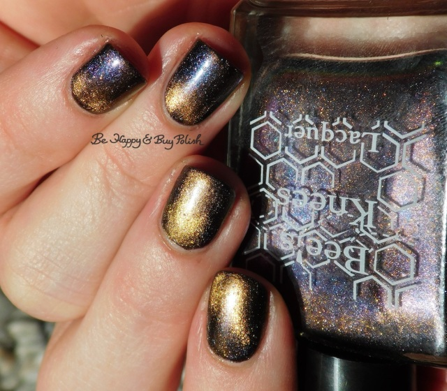 Bee's Knees Lacquer You're Free blue to gold shift over Hot Topic Blackheart Beauty Dark Purple Galaxy | Be Happy And Buy Polish