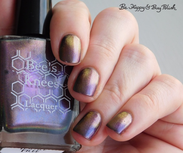 Bee's Knees Lacquer You're Free over Hot Topic Blackheart Beauty Dark Purple Galaxy | Be Happy And Buy Polish