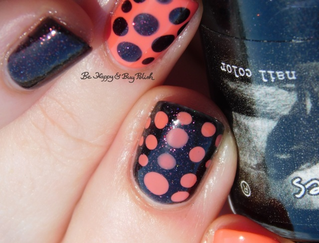 CrowsToes Nail Color Tell Me About It STUD, L.A. Colors Bright Tangerine blobbicure close up | Be Happy And Buy Polish