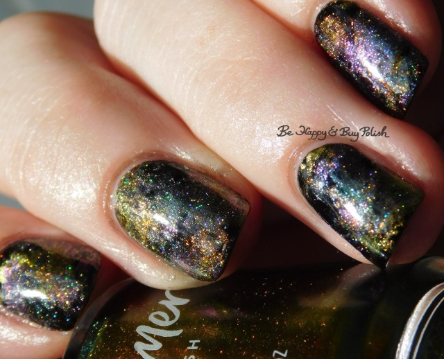 holographic oil slick nail art distressed stamping manicure with KBShimmer magnetic polishes | Be Happy And Buy Polish