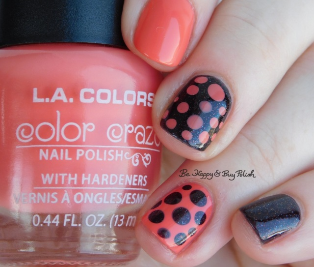 L.A. Colors Bright Tangerine, CrowsToes Nail Color Tell Me About It STUD blobbicure | Be Happy And Buy Polish