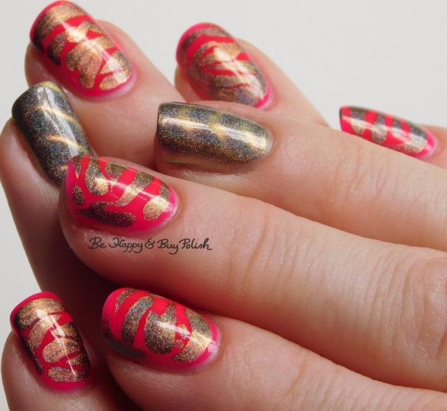 LA Colors Absolute, Tonic Polish Caliente brush drip nail art full manicure | Be Happy And Buy Polish