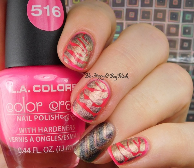 LA Colors Absolute, Tonic Polish Caliente brush drip nail art | Be Happy And Buy Polish