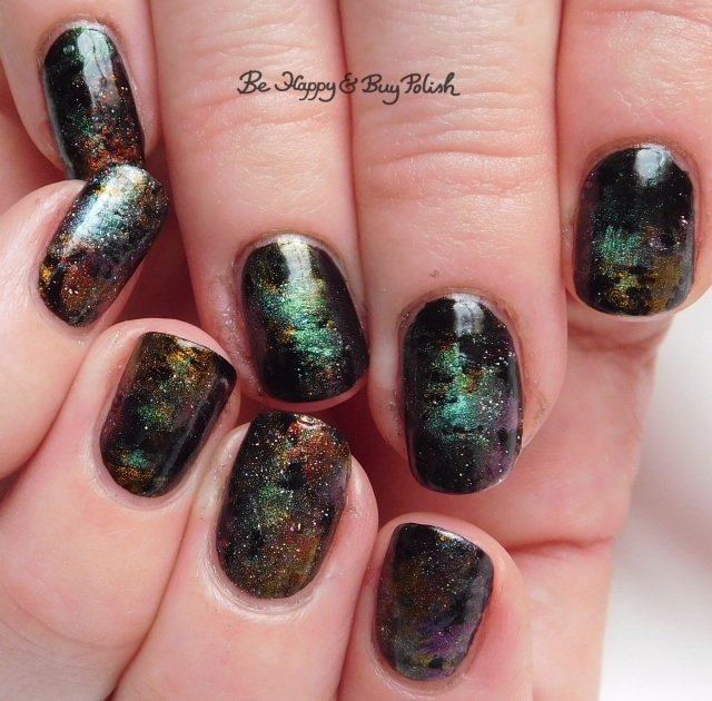 oil slick nail art distressed stamping manicure with KBShimmer magnetic polishes | Be Happy And Buy Polish