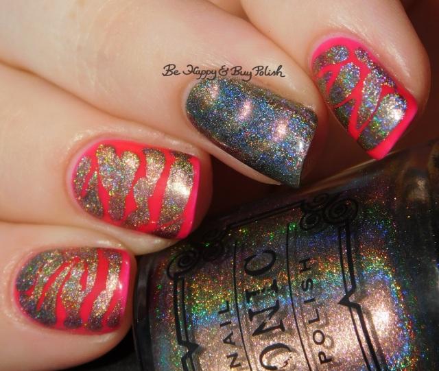 Tonic Polish Caliente holographic nail polish, LA Colors Absolute brush drip nail art manicure | Be Happy And Buy Polish