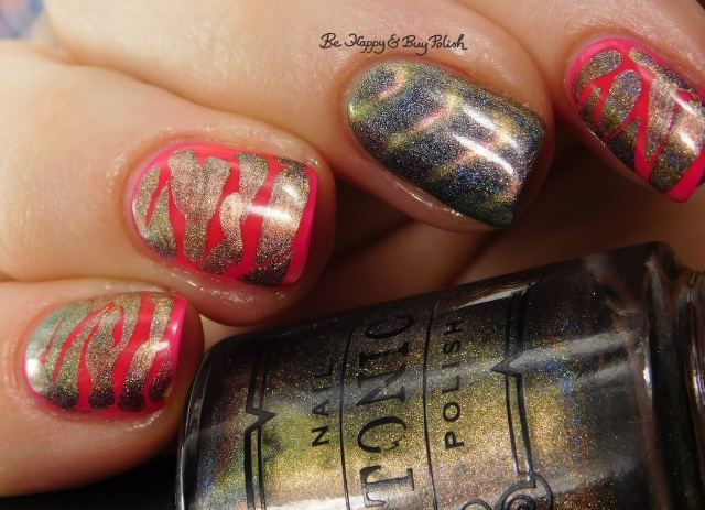 Tonic Polish Caliente, LA Colors Absolute brush drip nail art manicure close up | Be Happy And Buy Polish