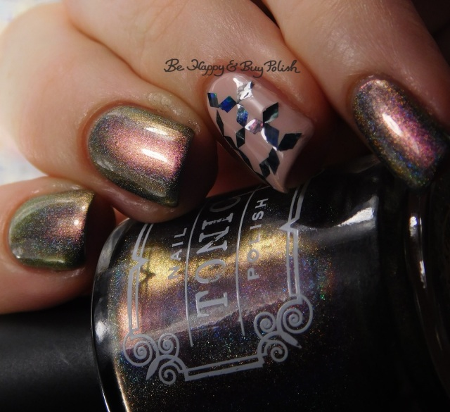 Tonic Polish Divine, LA Colors Color Craze Wanderlust glitter placement nail art close up | Be Happy And Buy Polish