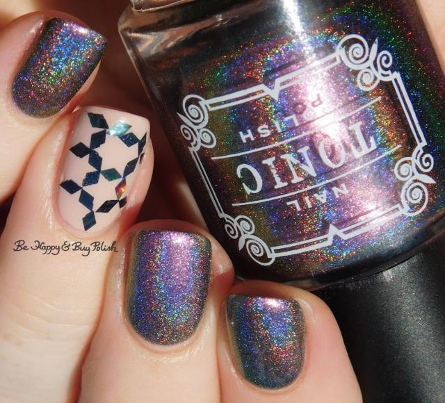 Tonic Polish Divine, LA Colors Color Craze Wanderlust glitter placement nail art | Be Happy And Buy Polish