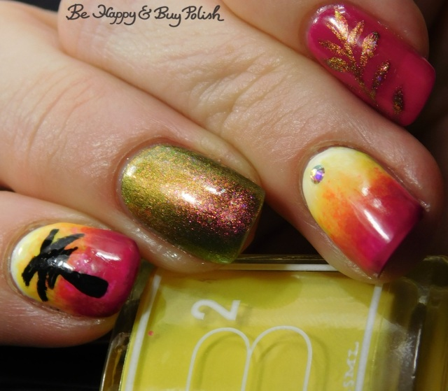 B Squared Lacquer Rave, Bee's Knees Lacquer Would You Kindly, Girly Bits Cosmetics Don't Paddle Break A Nail neon tropical palm tree magnetic manicure | Be Happy And Buy Polish