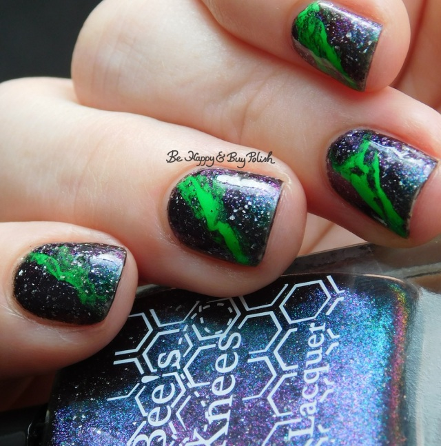 Bee's Knees Lacquer Reputation of Malice with Moonflower Polish Electric Slime fluid nail art close up | Be Happy And Buy Polish