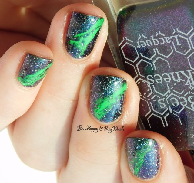 Bee's Knees Lacquer Reputation of Malice with Moonflower Polish Electric Slime neon fluid nail art | Be Happy And Buy Polish