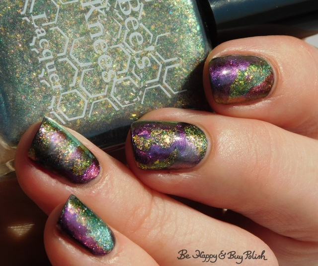 Bee's Knees Lacquer The Band of Exiles, Shleee Polish Psychedelic, Tonic Polish Jubilee, magnetic patchwork manicure nail art close up | Be Happy And Buy Polish