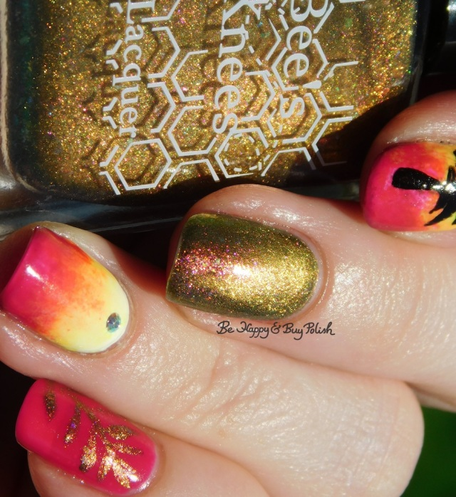 Bee's Knees Lacquer Would You Kindly, Girly Bits Cosmetics Don't Paddle Break A Nail, B Squared Lacquer Rave neon tropical palm tree magnetic manicure | Be Happy And Buy Polish