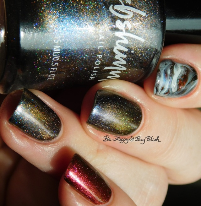 KBShimmer Insert Coin, Moon Shine Mani The One With All the Candy, OPI Check Out the Old Geysirs fluid magnetic marble skittlette manicure | Be Happy And Buy Polish