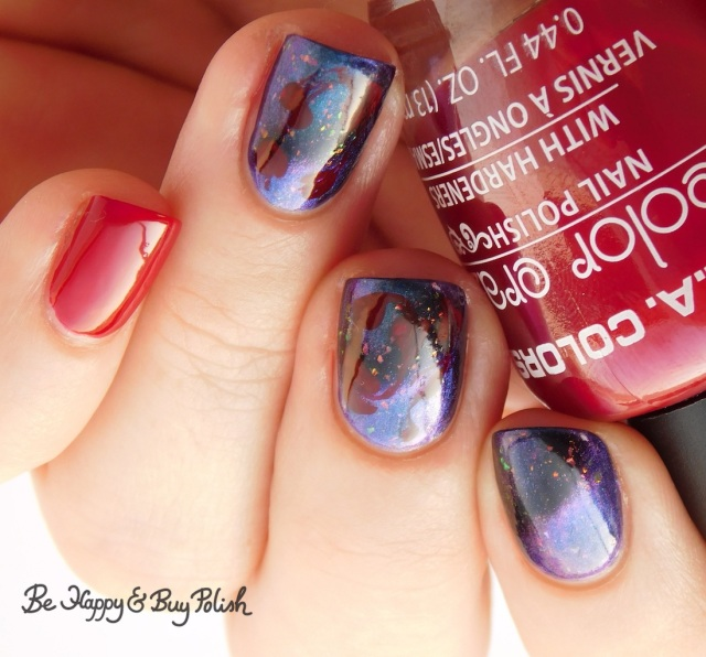 L.A. Colors Hot Blooded, Tonic Polish Becoming drag marble manicure | Be Happy And Buy Polish