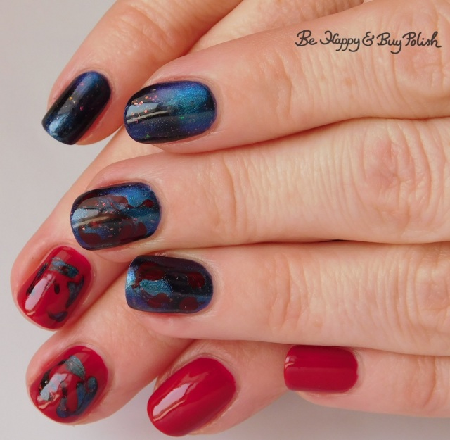 magnetic drag marble mani with Tonic Polish Becoming, L.A. Colors Hot Blooded | Be Happy And Buy Polish