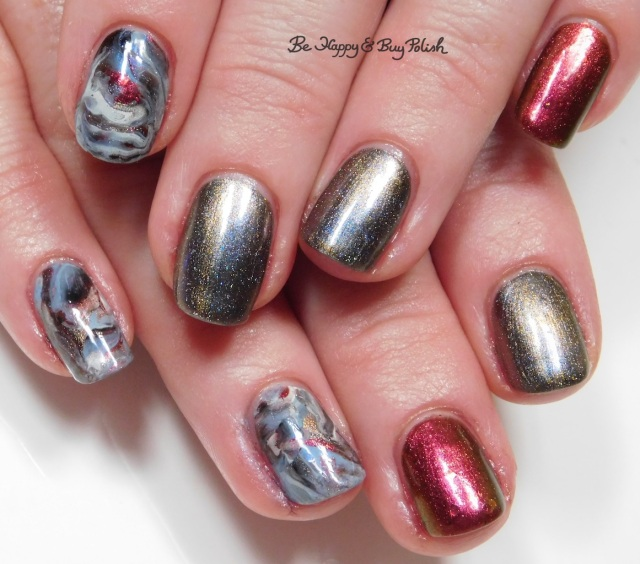 magnetic fluid marble skittlette manicure with KBShimmer, Moon Shine Mani, OPI | Be Happy And Buy Polish
