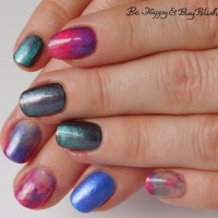 Marbled magnetic manicure with Sinful Colors, L.A. Colors, Moonflower Polish, and Shleee Polish