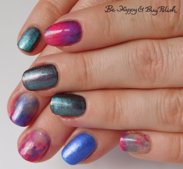 magnetic marbled manicure with L.A. Colors Swiss Coffee, Shleee Polish Ghost Bird, Sinful Colors Shimmy Shimmy, Moonflower Polish Sprinkles | Be Happy And Buy Polish