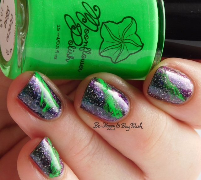 Moonflower Polish Electric Slime with Bee's Knees Lacquer Reputation of Malice fluid nail art close up | Be Happy And Buy Polish