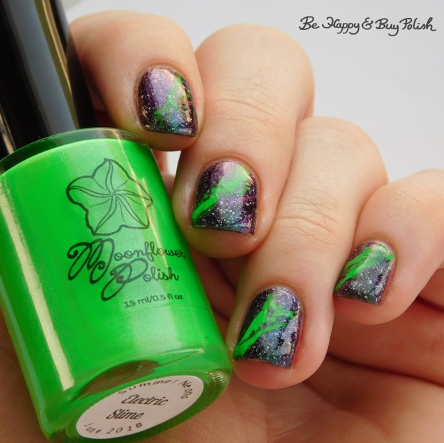 Moonflower Polish Electric Slime with Bee's Knees Lacquer Reputation of Malice fluid nail art | Be Happy And Buy Polish