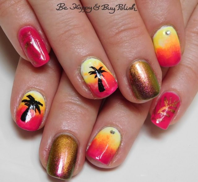 neon tropical palm tree magnetic manicure with Girly Bits Cosmetics, B Squared Lacquer, Bee's Knees Lacquer | Be Happy And Buy Polish