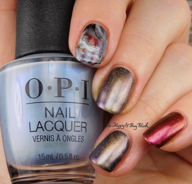 OPI Check Out the Old Geysirs, KBShimmer Insert Coin, Moon Shine Mani The One With All the Candy fluid magnetic marble skittlette manicure | Be Happy And Buy Polish