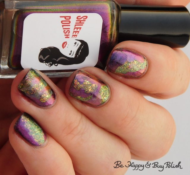 Shleee Polish Psychedelic, Tonic Polish Jubilee, Bee's Knees Lacquer The Band of Exiles, magnetic patchwork manicure nail art | Be Happy And Buy Polish