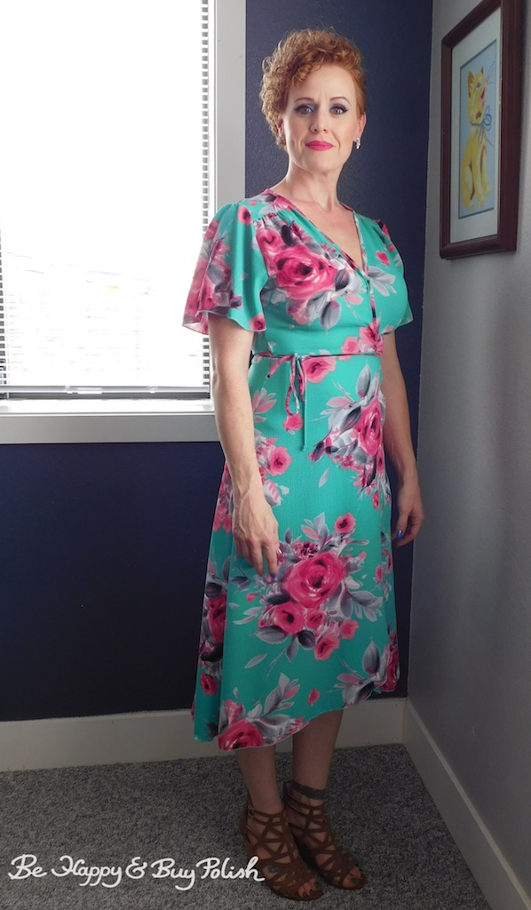 Teal wrap dress with pink flowers by Peppermint | Be Happy And Buy Polish