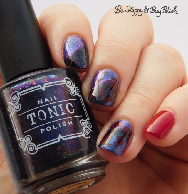 Tonic Polish Becoming, L.A. Colors Hot Blooded drag marble manicure | Be Happy And Buy Polish