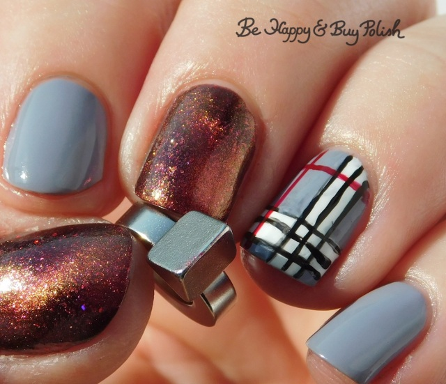 B Polished triangle magnet plaid nail art manicure | Be Happy And Buy Polish