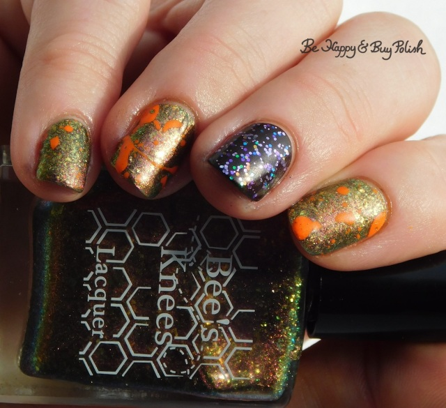 Bee's Knees Lacquer She Would Not Go Gently, L.A. Colors Unicorn Sparkle Sparkling Gem, Blackheart Beauty Plum Vamp Satin Matte, Moonflower Polish Summer Sunset neon magnetic paint splat | Be Happy And Buy Polish
