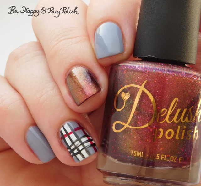 Delush Polish Divas of Soul, L.A. Colors Blankie, Energy Source, Hot Blooded, Circuits plaid nail art manicure close up | Be Happy And Buy Polish