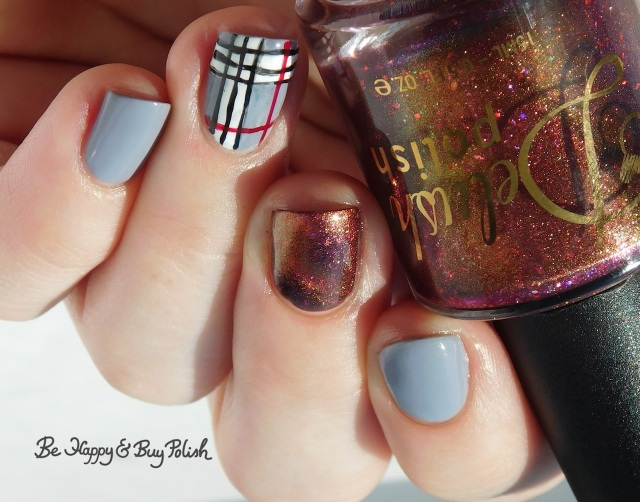 Delush Polish Divas of Soul, L.A. Colors Blankie, Energy Source, Hot Blooded, Circuits plaid nail art manicure | Be Happy And Buy Polish