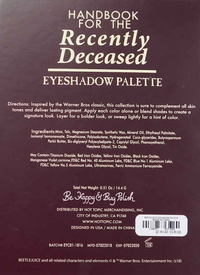 Hot Topic Handbook for the Recently Deceased eyeshadow palette ingredients | Be Happy And Buy Polish