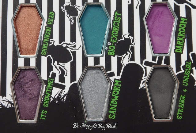 Hot Topic Handbook for the Recently Deceased eyeshadow palette Shrunken Head, Bio Exorcist, Darkrrom, It's Showtime, Sandworm, Strange and Unusual | Be Happy And Buy Polish