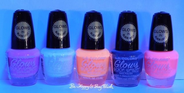 L.A. Colors Glows nail polishes Electric, Energy, Ionize, Spectrum, Luminious blacklight | Be Happy And Buy Polish