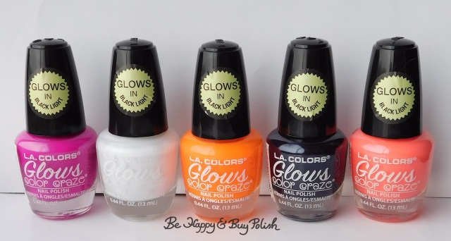 L.A. Colors Glows nail polishes Electric, Energy, Ionize, Spectrum, Luminious | Be Happy And Buy Polish