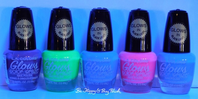 L.A. Colors Glows nail polishes Radio Active, Fluorescent, Nuclear, Gleaming, Lucent blacklight | Be Happy And Buy Polish