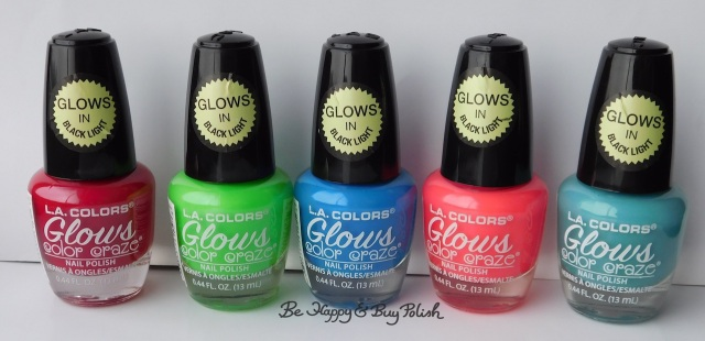 L.A. Colors Glows nail polishes Radio Active, Fluorescent, Nuclear, Gleaming, Lucent | Be Happy And Buy Polish