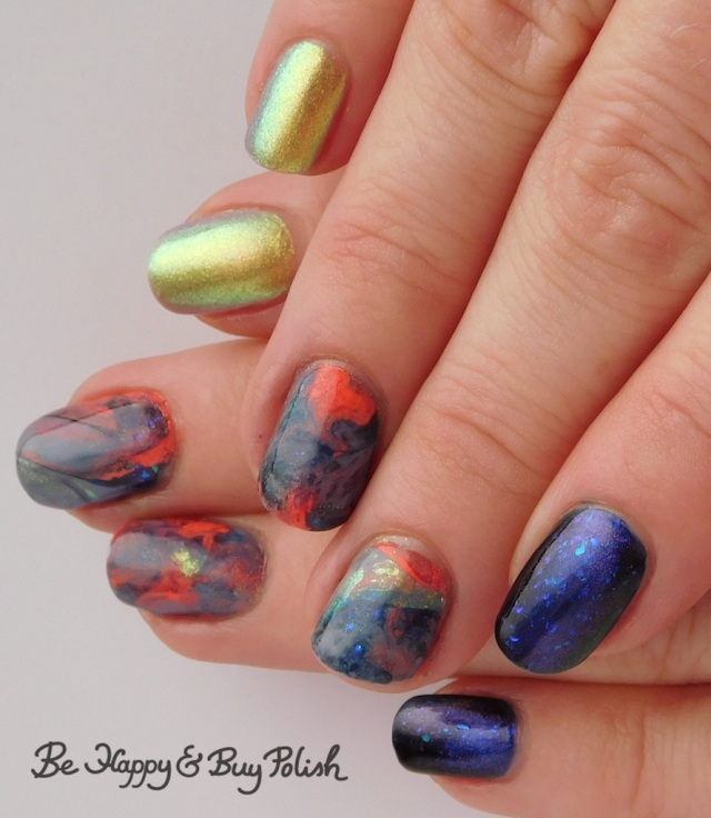 marble decal manicure with L.A. Colors Blankie, Moonflower Polish I Just Can't Wait, P.O.P. Polish SandSlick, Tonic Polish Helpless | Be Happy And Buy Polish
