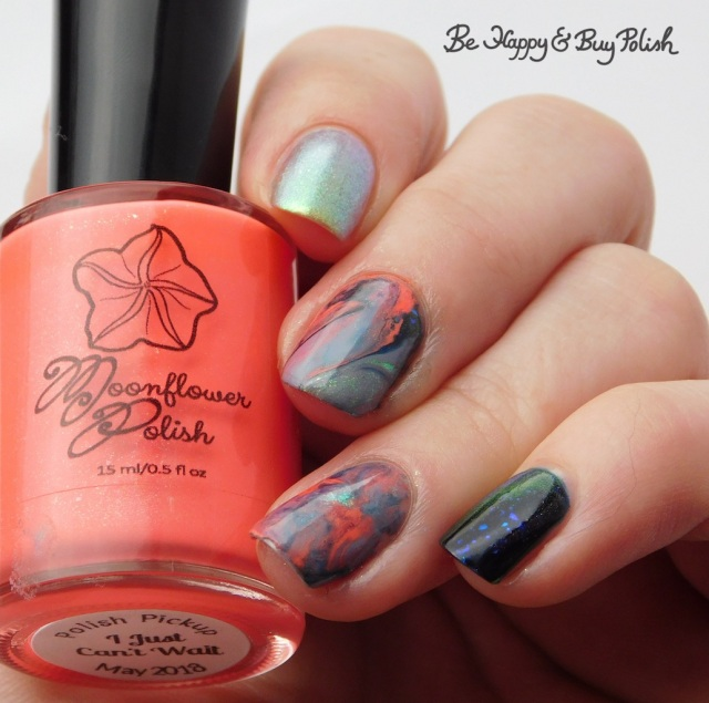 Moonflower Polish I Just Can't Wait, P.O.P. Polish SandSlick, Tonic Polish Helpless, L.A. Colors Blankie marble decal manicure | Be Happy And Buy Polish