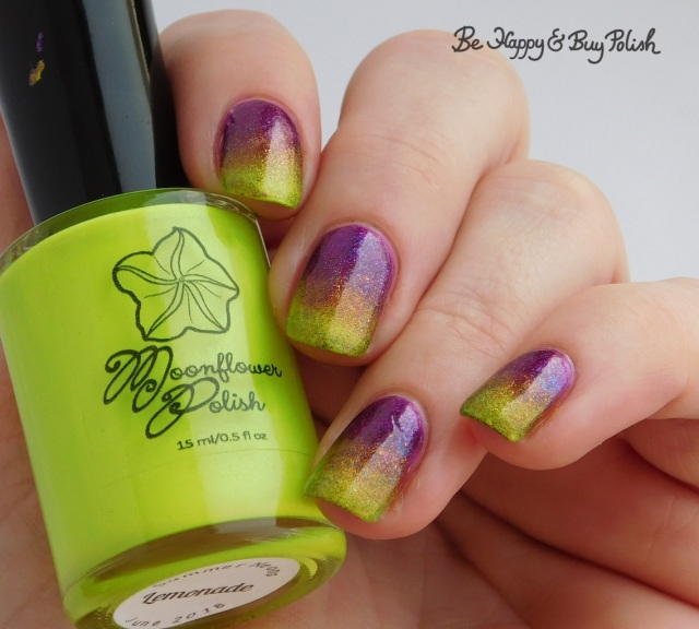 Moonflower Polish Lemonade and Pool Party, Tonic Polish Mirabilis and Here Comes the Sun double gradient rainbow manicure   Be Happy And Buy Polish