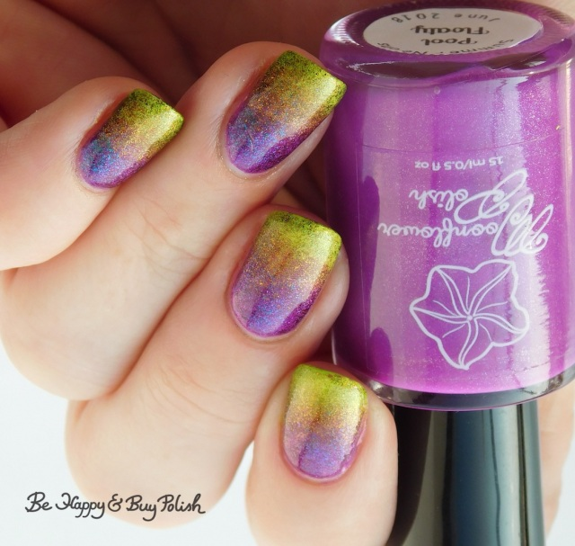 Moonflower Polish Pool Party and Lemonade, Tonic Polish Mirabilis and Here Comes the Sun double gradient rainbow manicure | Be Happy And Buy Polish