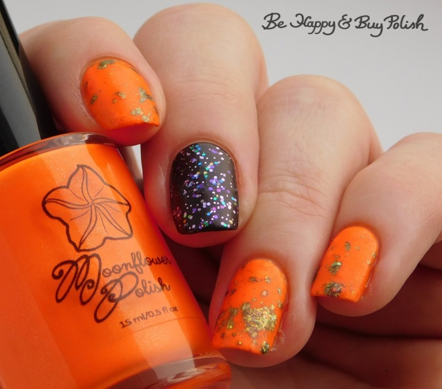 Moonflower Polish Summer Sunset, Bee's Knees Lacquer She Would Not Go Gently, L.A. Colors Unicorn Sparkle Sparkling Gem, Blackheart Beauty Plum Vamp Satin Matte neon magnetic paint splat | Be Happy And Buy Polish
