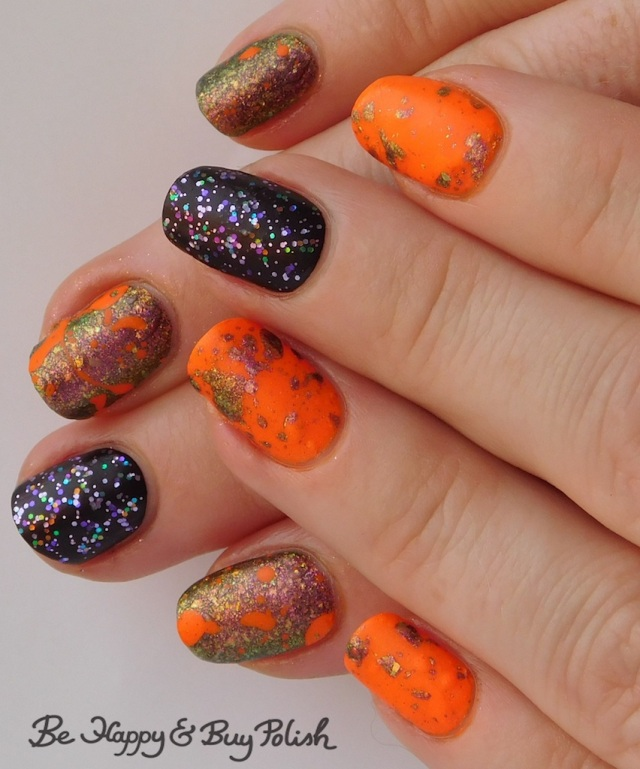 neon magnetic paint splatter manicure with Moonflower Polish, Bee's Knees Lacquer, L.A. Colors Unicorn Sparkle, Blackheart Beauty Vampire Matte | Be Happy And Buy Polish