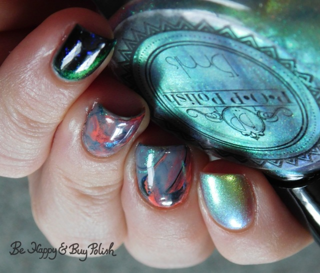 P.O.P. Polish SandSlick, Tonic Polish Helpless, L.A. Colors Blankie, Moonflower Polish I Just Can't Wait marble decal manicure close up | Be Happy And Buy Polish