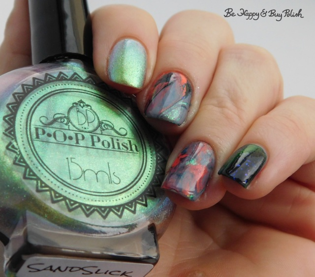 P.O.P. Polish SandSlick, Tonic Polish Helpless, L.A. Colors Blankie, Moonflower Polish I Just Can't Wait marble decal manicure | Be Happy And Buy Polish