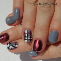 Plaid Nail Art with Magnetic Accent Nail featuring Delush Polish and L.A. Colors